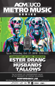poster art for the Ester Drang, Husbands and Tallows concert by Sara Bowersock of Point Blank Art & Graphics