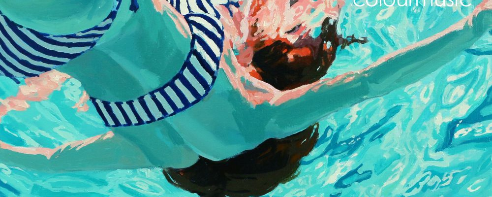 colourmusic album cover art of a woman floating face-up in a pool by painter Samantha French