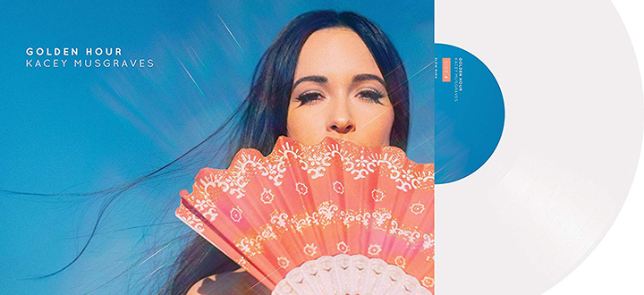 "Musician Kacey Musgraves poses with a folk-out fan in front of a bright blue sky in the cover image of her Grammy-winning ""Golden Hour"" record."