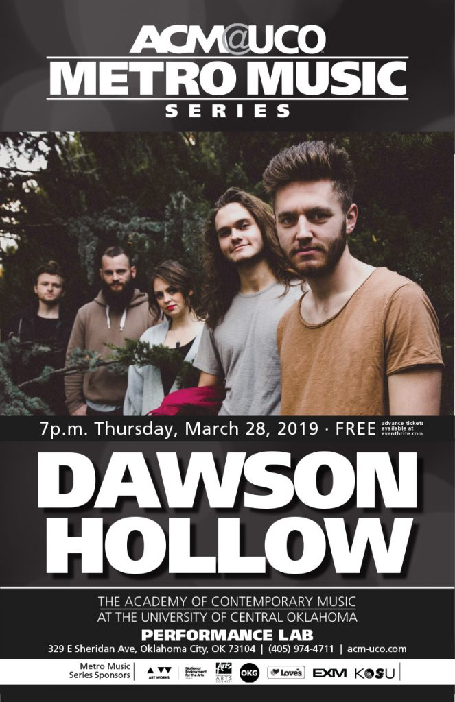 A concert poster featuring the five members of the folk-rock act Dawson Hollow, dressed casually and looking at the camera as they pose on a bridge.