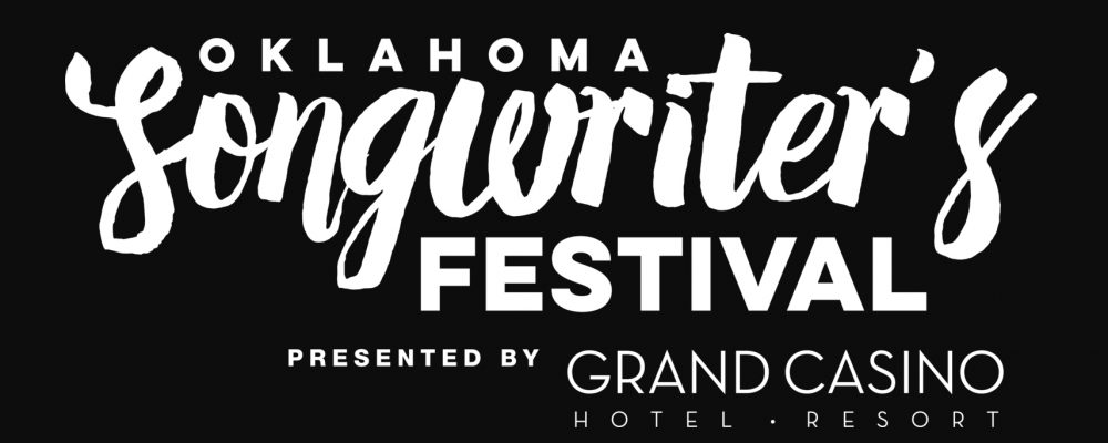 Oklahoma Songwriter's Festival script logo, in white text over a black background