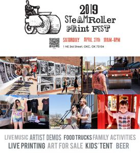 A poster promoting the Steamroller Festival shows photos from prior events, and artists and children and art booths. It lists that the festival includes music, food, art demos, and more.