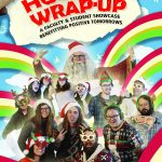 Colorful holiday-themed poster features red and green rainbow designed like wrapping paper as a background and cut-out images of musicians in holiday sweaters in front of it. It's an event poster for the Holiday Wrap-Up event.