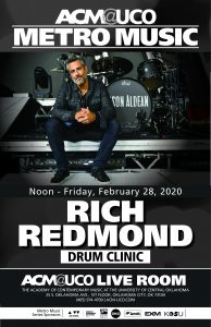 Text flyer with Drummer Rich Redmond, dressed in black, sits on a riser with his drum kit behind him, which he uses when he tours with country music star Jason Aldean
