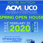 text flyer with white, green and blue text about event with photo of the brick front of the ACM@UCO campus in Bricktown