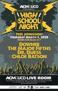 text poster with outline of crowd in shadow and lightning bolts around the yellow words High School Night. It includes the bands playing, date and time info.