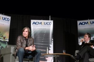 a casual portrait of Jackson Browne and Scott Booker taken during a masterclass in Oklahoma City