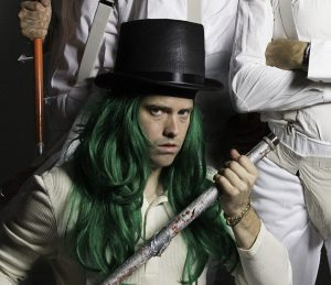Drummer Matt Duckworth poses with the Flaming Lips dresses as characters from A Clockwork Orange