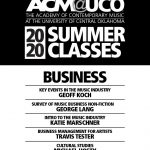 black and white text flyer listing the faculty names and courses offered for 2020 summer classes at acm@uco.
