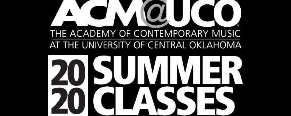black and white text flyer listing the performance courses and teachers for the spring 2020 semester at acm@uco.