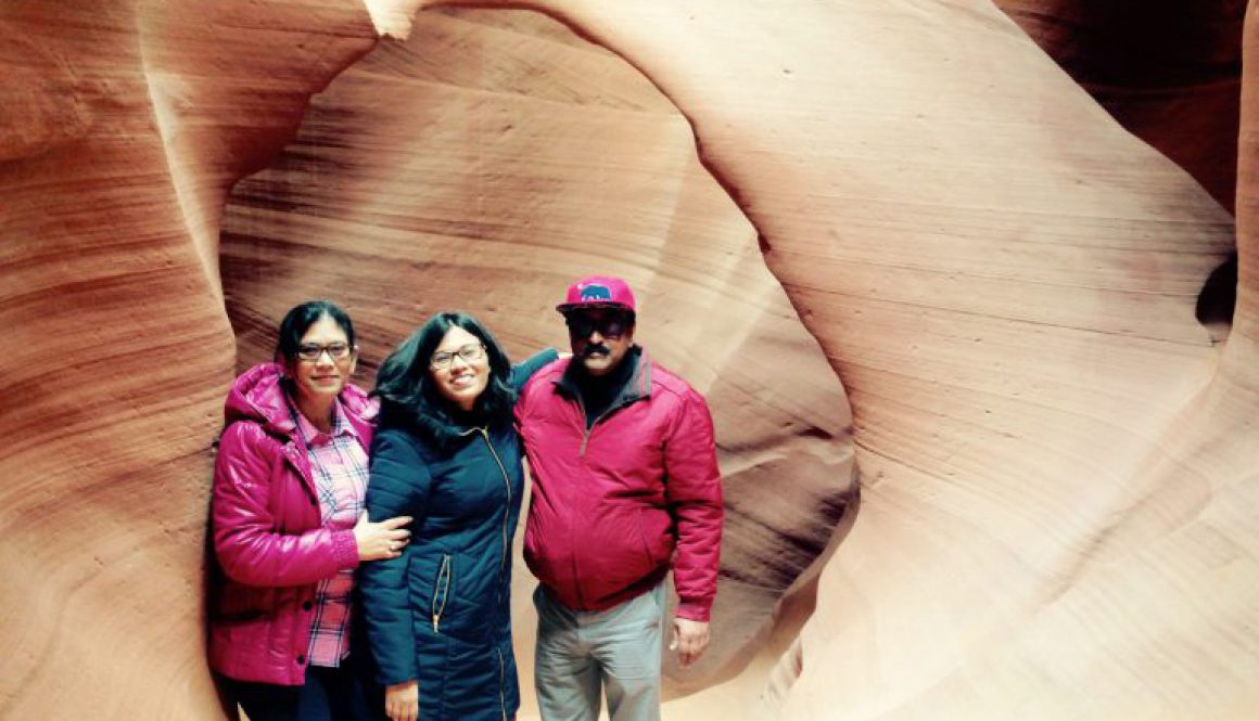 Photo of Dr. Saheli Nath with her husband and daughter at the Grand Canyon.