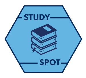 "an icon with a stack of books that reads ""Study Spot"""
