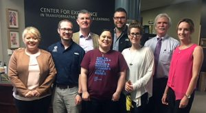 ITB representatives during their May 2018 visit to UCO. From left: Fiona Malone, ITB; Mark Walvoord, UCO; Paul Dervan, ITB; Camille Farrell, UCO; Brenton Wimmer, UCO; Cristi Moore, UCO; Jeff King, UCO; and, Sandra Thompson, ITB.