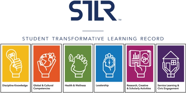graphic with key points of STLR philosophy: Discipline Knowledge, Global & Cultural Competencies, Health & Welness, Leadership, Research, Creative* Scholarly Activities, Service Learning & Civic Engagement