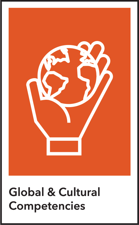 Global & Cultural Competencies icon (hand holding globe)