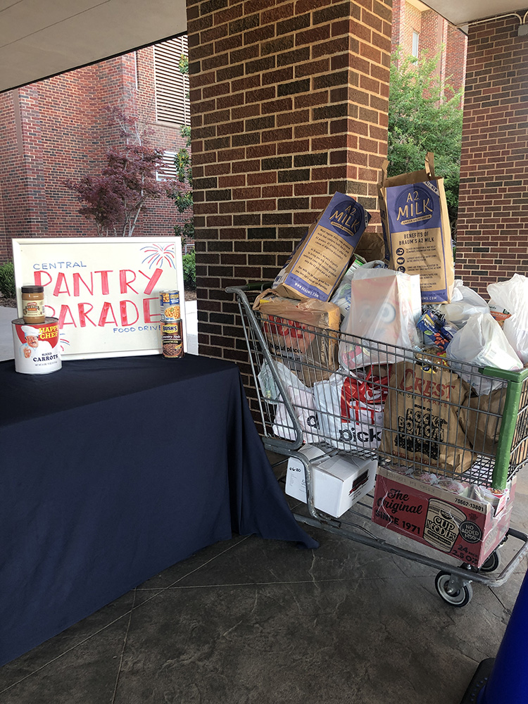 photo of food pantry drive, July 2020