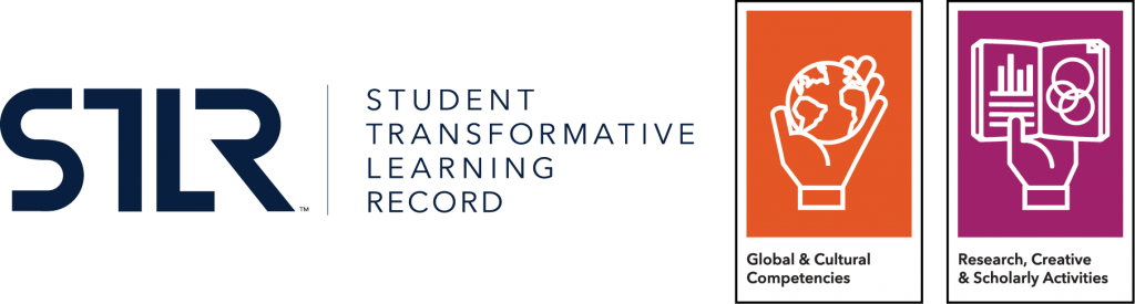 Student Transformative Learning Record (STLR) logo with the Global and Research tenet icons