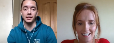 Screenshot of YouTube video with student and faculty, TU Dublin talks, Episode 11