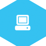hex icon with image of computer