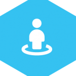 hex icon with image of person