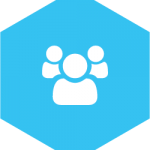 hex icon with image of 3 people
