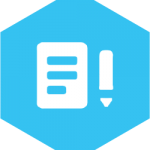 hex icon with image of document and pen