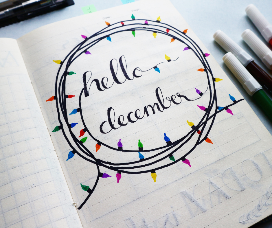 """""""hello December"""" doodle with christmas lights"""