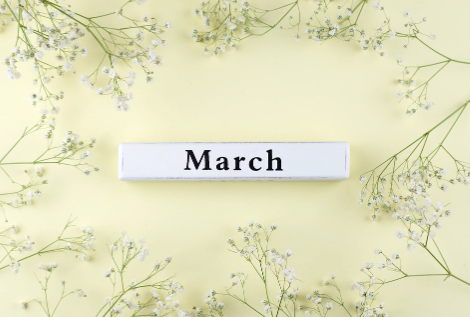 the word march with sprigs of baby's breath