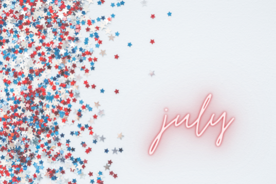 stars confetti with word July