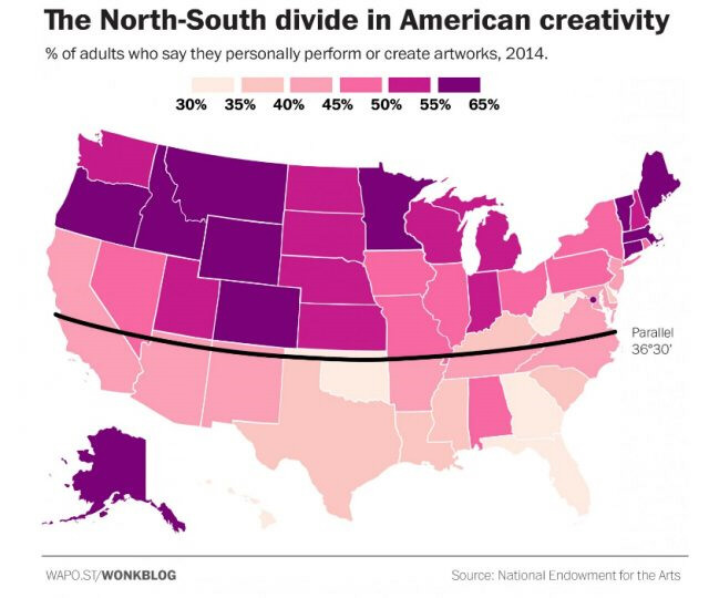 "Map of the United States showing a ""best of fit"" line at the 36""30' latitude for a division between states in which more people are engaged in creative and artistic activities above the line than below it"