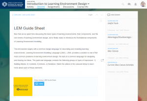 Screenshot of the ILED open course page
