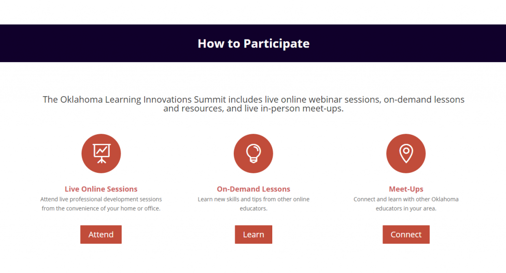 Screenshot of Learning Innovations Summit ways to participate page