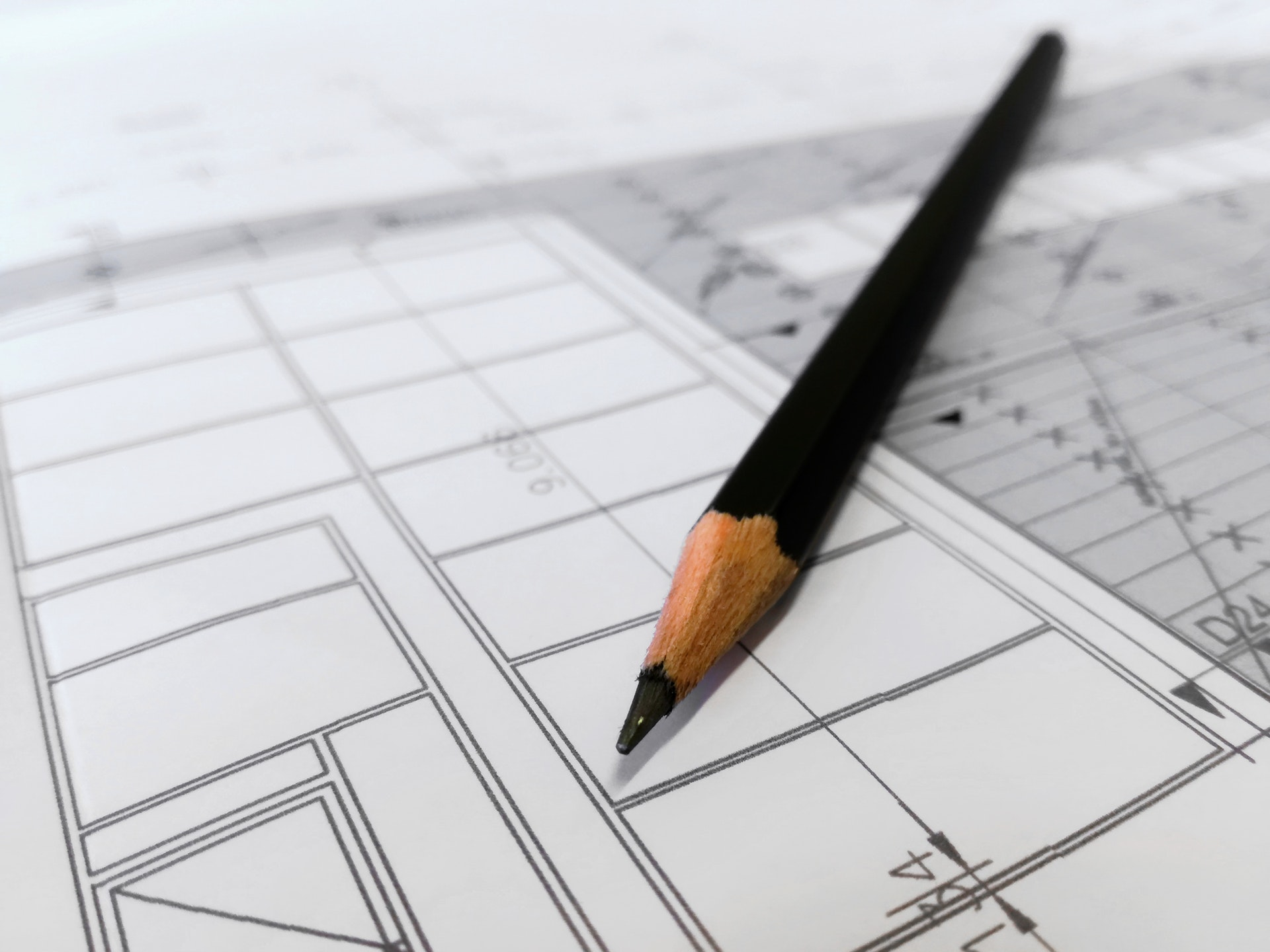 Picture of pencil on architect designs
