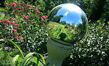 Photograph of reflection in a sphere