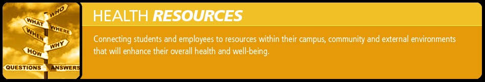 Screenshot of the header banner for the Health Resources webpage