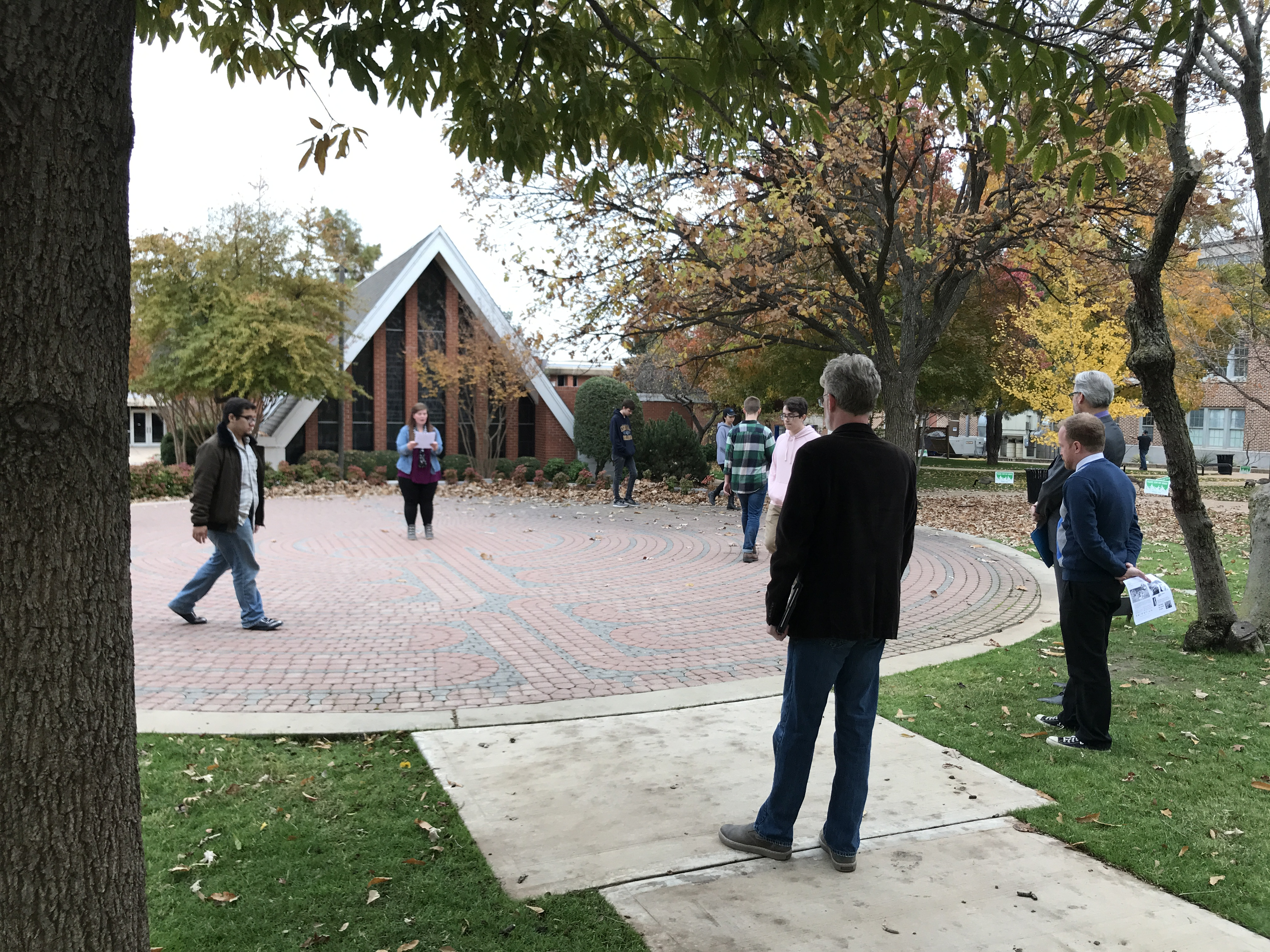 Faculty walking the UCO labyrinth