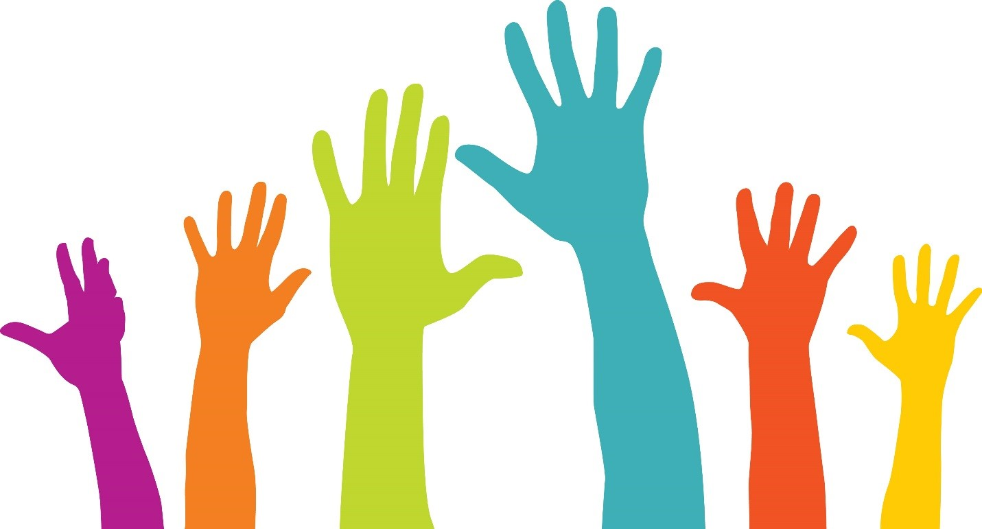 picture of colorful raised hands