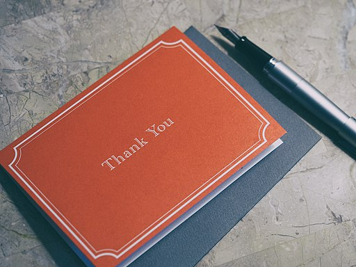 photo of Thank You card with pen beside it
